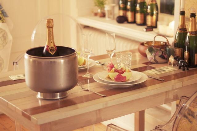 nyår parmaskinka melon honungsmelon bollinger brut champagne middag förrätt