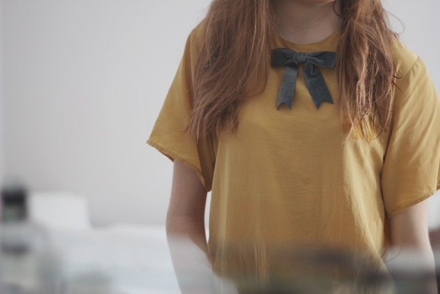grey blue bow tieyellow mustard coloured silk t-shirt outfit