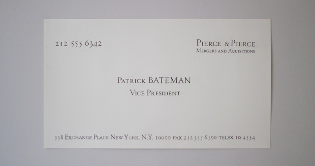 american psycho business card patrick bateman silian rail font poster pierce scene