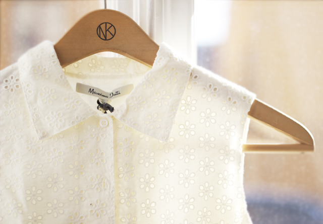 detail lace klänning vit shirt dress collar massimo dutti white bone ribbon summer