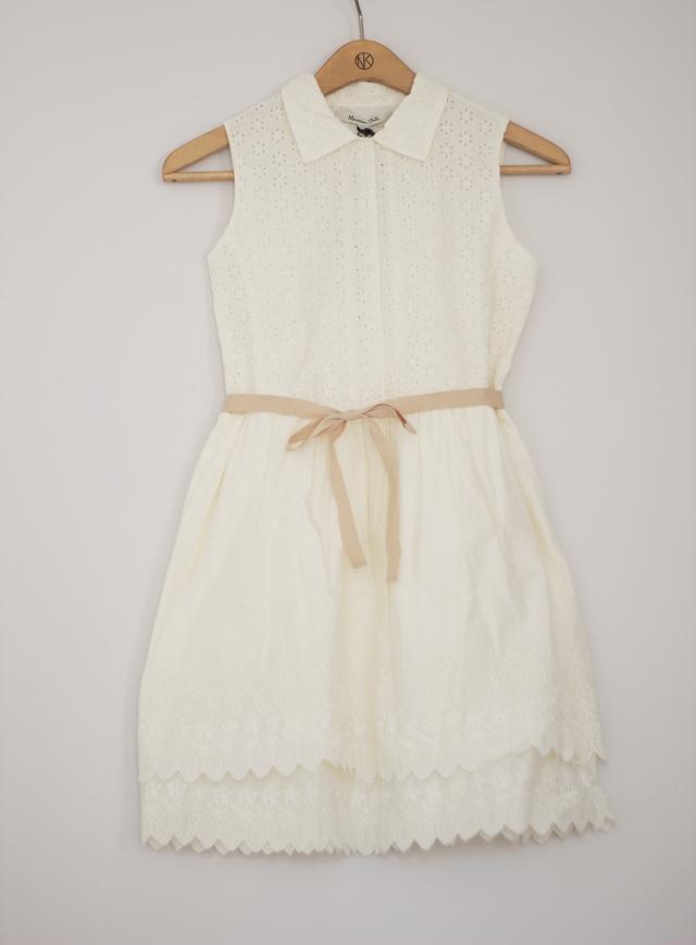 klänning vit shirt dress collar massimo dutti white bone ribbon summer