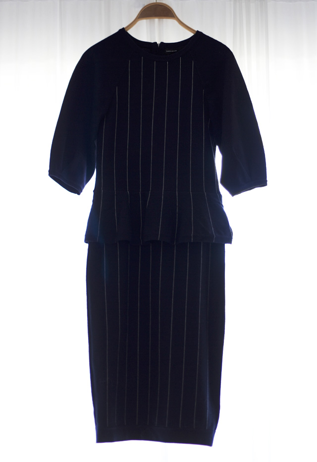 karen millen chalk stripe dress navy